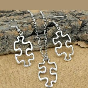 Tibetan silver Autism earring and necklace set